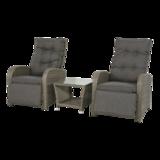 Duoset Melia,vergrijsd, 2 stoelen met tafeltje_