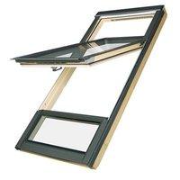 FDY-V U3 FSC CD 78x255 Dakraam met verhoogde tuimelas en benedenlicht, hout, FSC keurmerk, blank afgelakt
