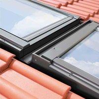 KHV1-P 02 55x98 Linker koppelgootstuk voor een horizontale combinatie voor geprofileerde dakbedekking tot 90mm profielhoogte, loodslabbe, koppelafstand 100mm