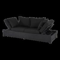 Loungebank Roma zwart, wicker, lengte 210 cm