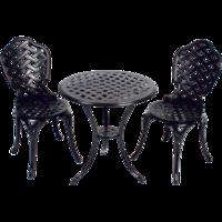 Bistroset Leeds Kensington, gegoten aluminium, ronde tafel met 2 stoelen