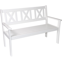 Bank grenen wit, lengte 129 cm diepte 64 cm, hoogte 90 cm