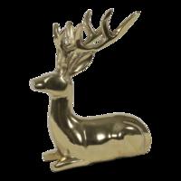 Beeld liggend Hert aluminium goud, 18x13x23 cm