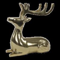 Beeld liggend Hert aluminium goud, 25x10x25 cm