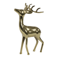 Beeld staand Hert aluminium goud 30x15x48 cm