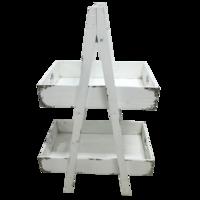 Etagere Alpes wit, hout, hoogte van 93 centimeter en een lengte van 58 centimeter (2 stuks)