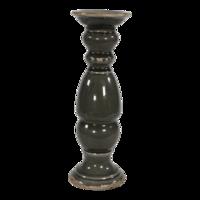 Kaarsenstandaard keramiek oud zwart 33,5cm