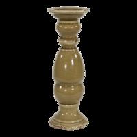 Kaarsenstandaard keramiek oud beige 33,5cm