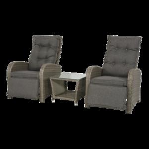Duoset Melia,vergrijsd, 2 stoelen met tafeltje
