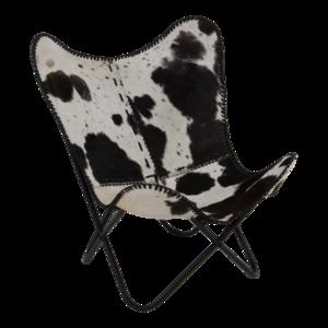 Vlinderstoel Cow, zwart/wit